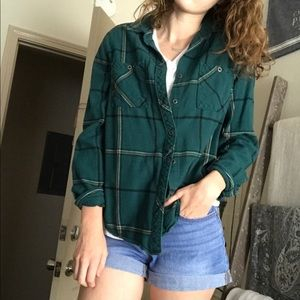 Green Plaid Button Up Flannel
